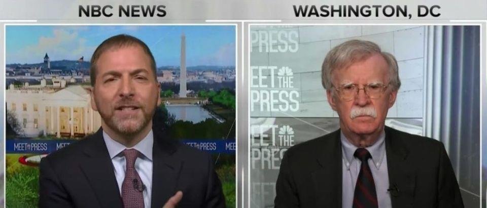 "NBC ""Meet the Press"" host Chuck Todd interviews former National Security Adviser John Bolton, June 28, 2020. (YouTube screen capture/NBC News)"