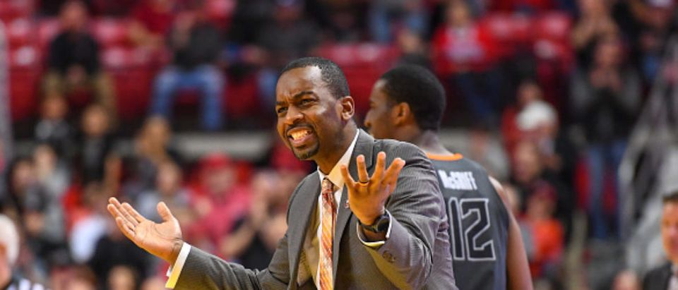 LUBBOCK, TX - FEBRUARY 27: Head coach Mike Boynton of the Oklahoma State Cowboys reacts to an officials call during the second half of the game against the Texas Tech Red Raiders on February 27, 2019 at United Supermarkets Arena in Lubbock, Texas. Texas Tech d
