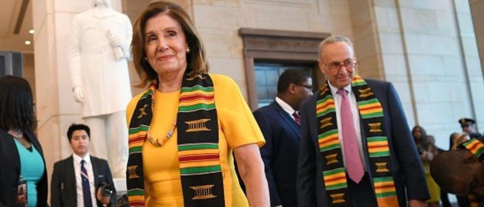 Democratic California House Speaker Nancy Pelosi and Senate Minority Leader Chuck Schumer