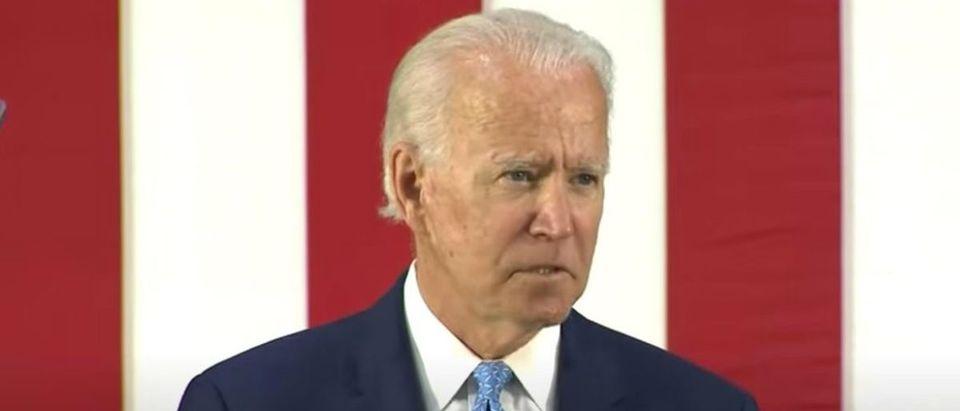 Joe Biden speaks to reporters in Wilmington, Delaware, June 30, 2020. (YouTube screen capture/Fox Business)
