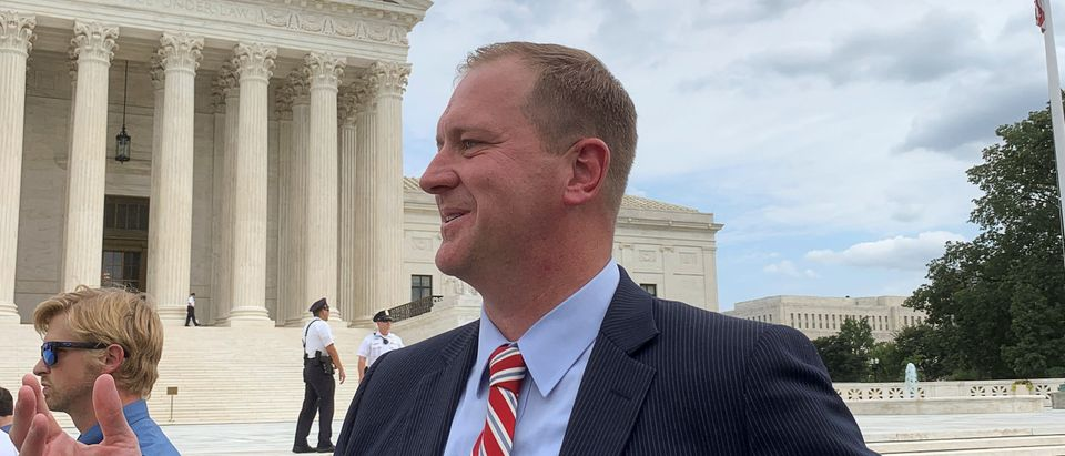 Missouri Attorney General Schmitt speaks to Reuters after antitrust probe announcement outside the Supreme Court in Washington