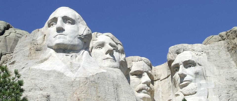 U.S. presidents George Washington Thomas Jefferson Theodore Roosevelt and Abraham Lincoln on Mount Rushmore National Memorial in South Dakota