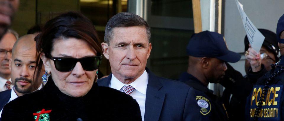 Former U.S. national security adviser Flynn departs after sentencing hearing at U.S. District Court in Washington