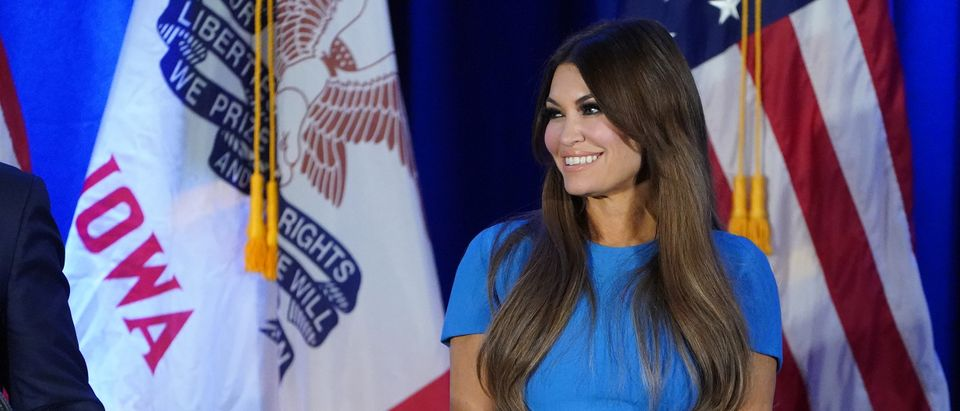 Kimberly Guilfoyle appears at a press conference in Des Moines