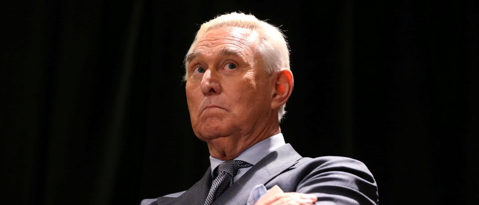 FILE PHOTO: Trump ally Roger Stone arrives for a news conference in Washington