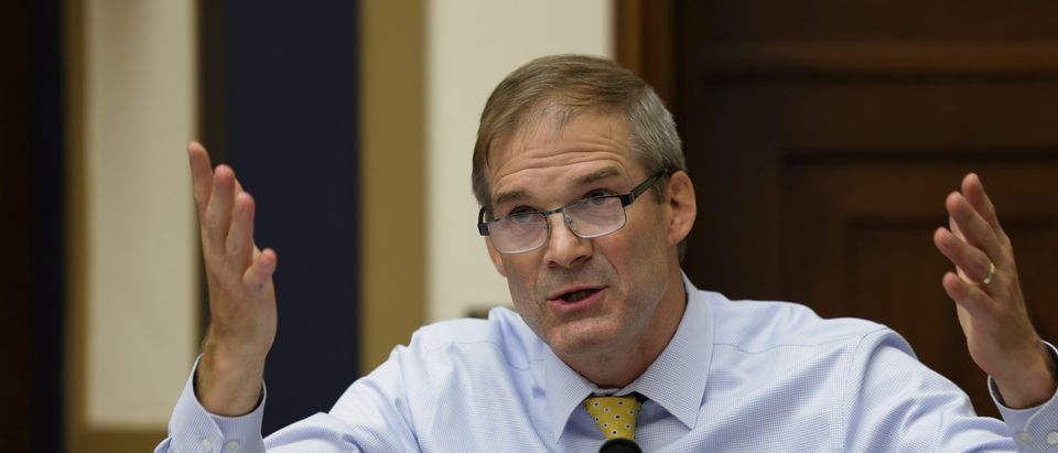 """Congressman Jim Jordan (R-OH) speaks during the House Judiciary Subcommittee on Antitrust, Commercial and Administrative Law Subcommittee hearing on """"Online Platforms and Market Power"""" on Capitol Hill"""