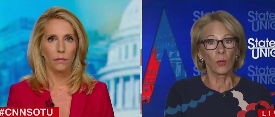 Betsy DeVos and Dana Bash debate schools reopening (CNN screengrab)