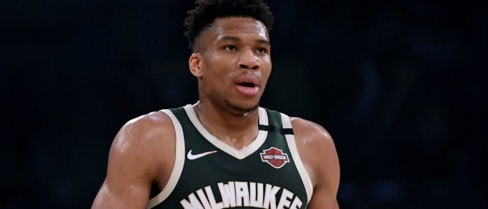 LOS ANGELES, CALIFORNIA - MARCH 06: Giannis Antetokounmpo #34 of the Milwaukee Bucks reacts as he leaves the court during the first quarter against the Los Angeles Lakers at Staples Center on March 06, 2020 in Los Angeles, California. (Photo by Harry How/Getty Images)