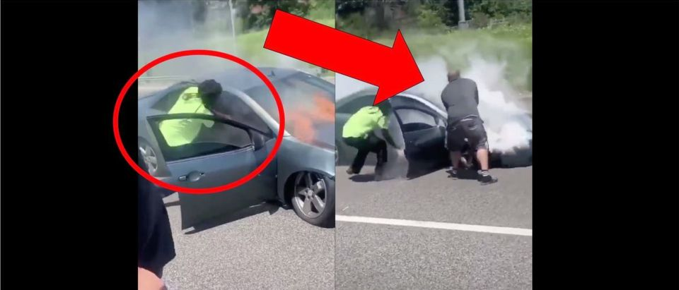 Burning Car Video (Credit: Screenshot/Twitter Video https://twitter.com/OldRowViral/status/1288920908363702273)