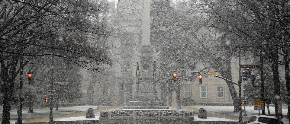 Snow falls on the Confederate Soldiers Monument at the State Capitol on January 17, 2018 in Raleigh, North Carolina. NC Governor Roy Cooper declared a State of Emergency yesterday ahead of the winter storm. (Photo by Lance King/Getty Images)