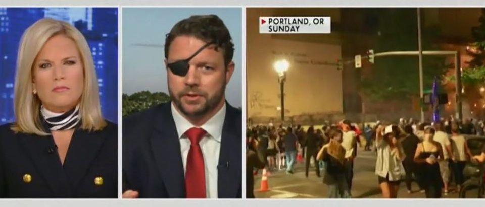 Dan Crenshaw talk about left wing mob violence (Fox News screengrab)