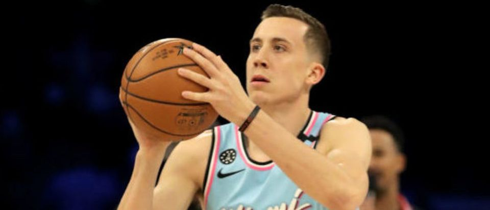CHICAGO, ILLINOIS - FEBRUARY 15: Duncan Robinson #55 of the Miami Heat attempts a shot in the 2020 NBA All-Star - MTN DEW 3-Point Contest during State Farm All-Star Saturday Night at the United Center on February 15, 2020 in Chicago, Illinois. (Photo by Jonathan Daniel/Getty Images)