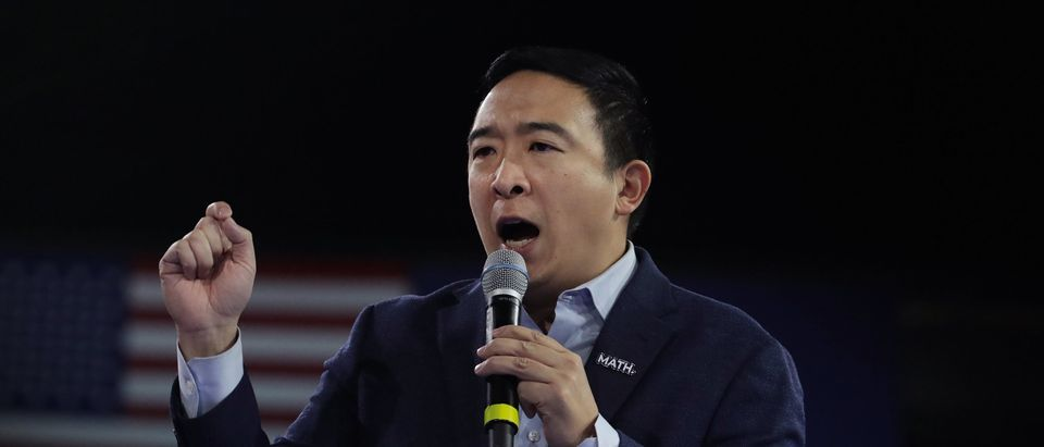 Democratic presidential candidate Andrew Yang speaks during the 100 Club Dinner at SNHIU on February 08, 2020 in Manchester, New Hampshire. (Scott Olson/Getty Images)
