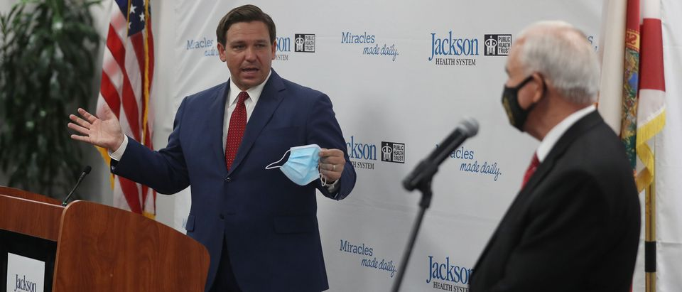 Florida Governor Ron DeSantis And Miami-Dade County Mayor Carlos Gimenez Hold Coronavirus Briefing
