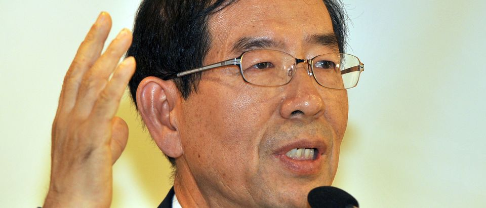Seoul mayor Park Won-Soon speaks during