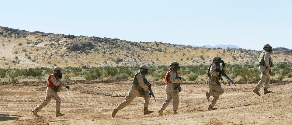 Marines Train At Twentynine Palms Marine Base Before Deployment To Iraq