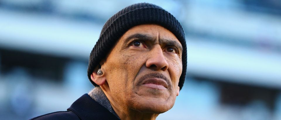 Former NFL coach and current NBC broadcaster, Tony Dungy, looks on before the Philadelphia Eagles take on the Atlanta Falcons in the NFC Divisional Playoff game at Lincoln Financial Field on January 13, 2018 in Philadelphia, Pennsylvania. (Mitchell Leff/Getty Images)