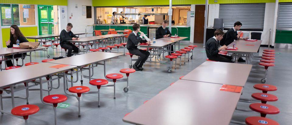 Pupils Practice Social Distancing At Longdendale High School