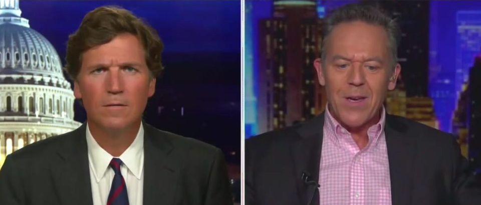 Greg Gutfeld and Tucker Carlson discuss cancel culture (Fox News screengrab)