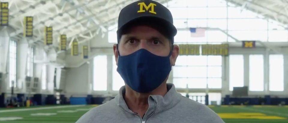 Jim Harbaugh (Credit: Screenshot/Twitter Video https://twitter.com/UMichFootball/status/1283568030421848065)