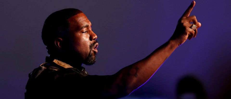 Rapper Kanye West makes a point as he holds his first rally in support of his presidential bid in North Charleston, South Carolina, U.S. July 19, 2020. REUTERS/Randall Hill