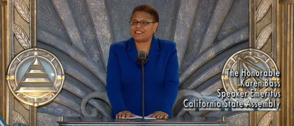 Karen Bass speaks at a Scientology ceremony in Los Angeles, April 24, 2010. (Youtube/Scientology)