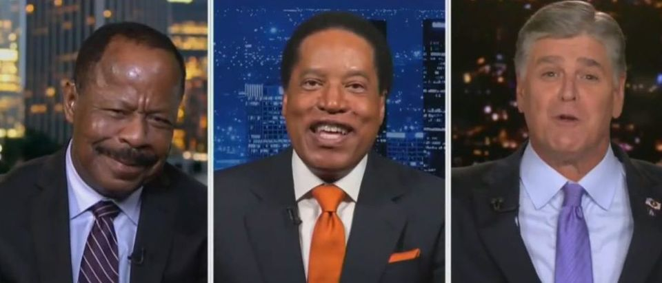 Leo Terrell, Larry Elder, and Sean Hannity discuss voting for Trump (Fox News screengrab)