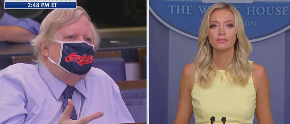 McEnany counter reporter with Hatch Act definition (Fox News screengrab)