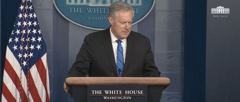 White House Press Secretary Mark Meadows delivers a press briefing. (Screenshot/YouTube/White House)