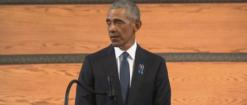 President Barack Obama delivers a speech at Rep. John Lewis' funeral. (Screenshot/WashingtonPostLive)