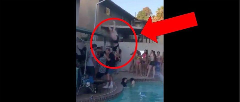 Pool Jump (Credit: Screenshot/Twitter Video https://twitter.com/jaahmiiin/status/1279897489047343104)
