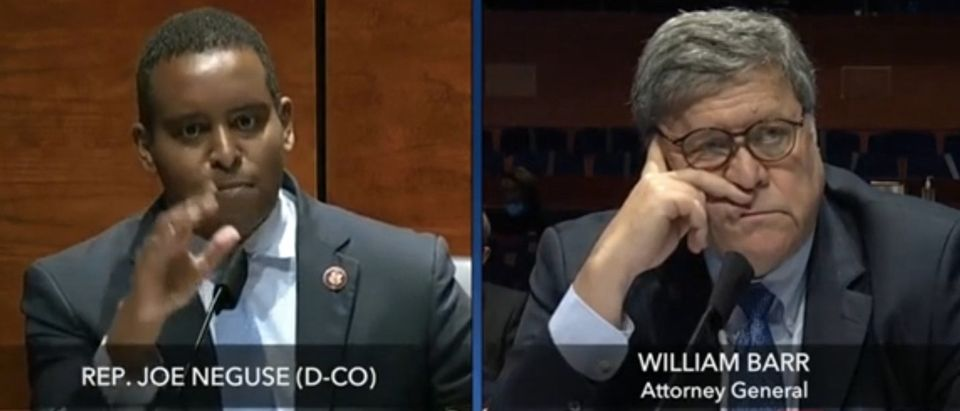 Rep. Joe Neguse questions Attorney General Bill Barr. (Screenshot/CSPAN)