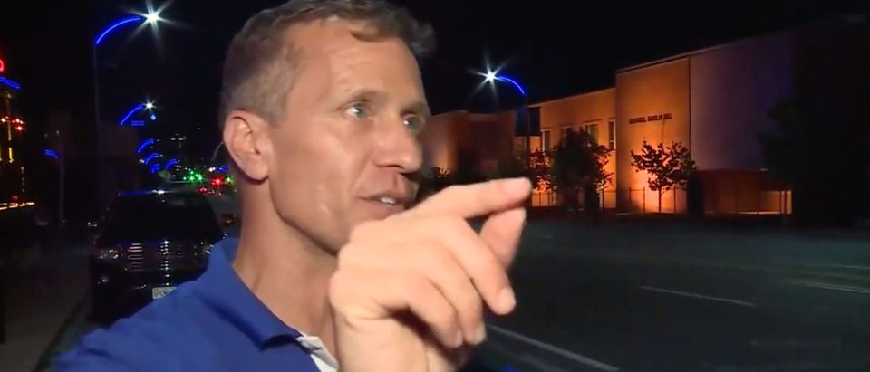 Former Missouri Governor Eric Greitens speaks with local St. Louis reporters. Screenshot/Fox 2