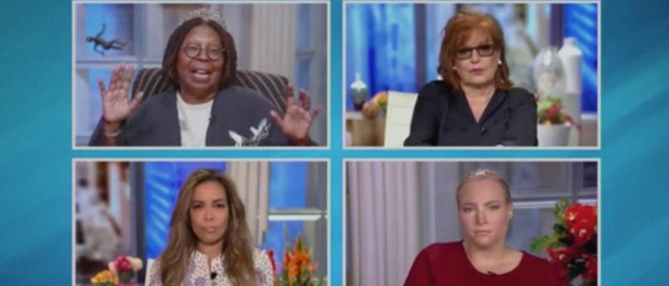 "Whoopi Goldberg, Joy Behar, Sunny Hostin and Meghan McCain appear on ""The View."" Screenshot/ABC"