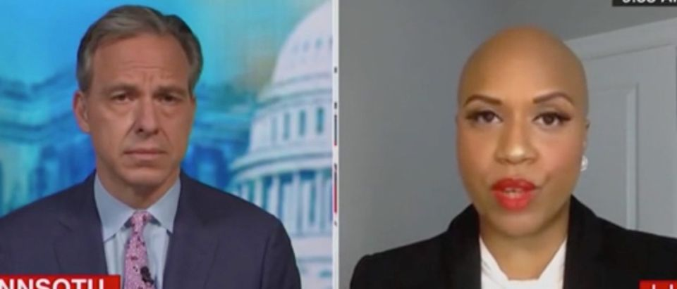 """Jake Tapper speaks with Ayanna Pressley on """"State of the Union."""" Screenshot/CNN"""