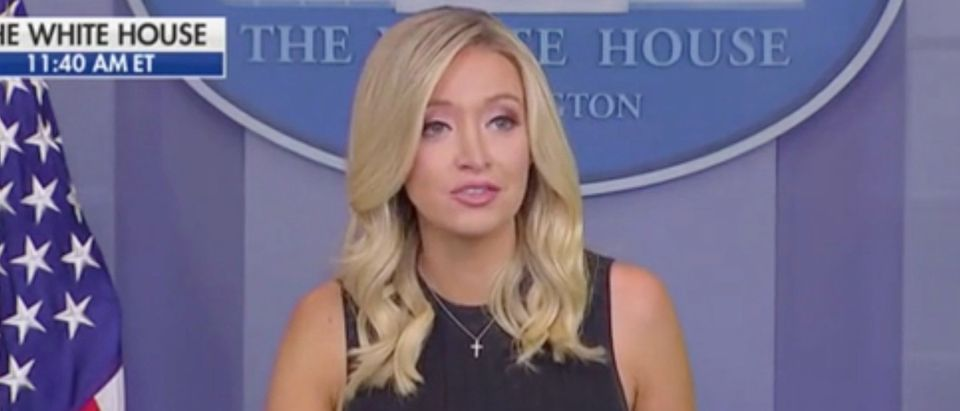 White House press secretary Kayleigh McEnany give press briefing. Screenshot/Fox News