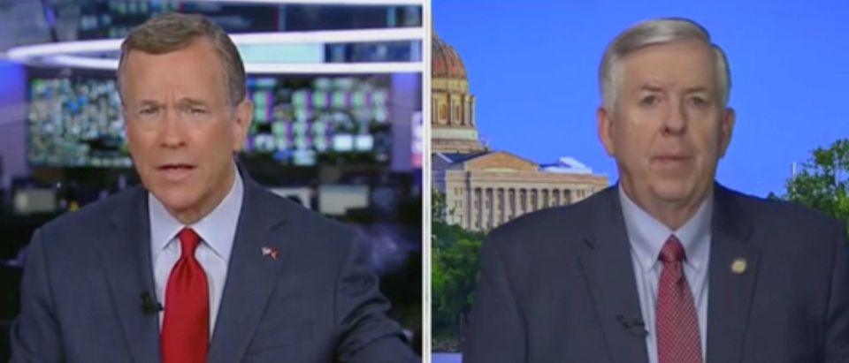 David Asman speaks with Missouri Governor Mike Parson. Screenshot/Fox News