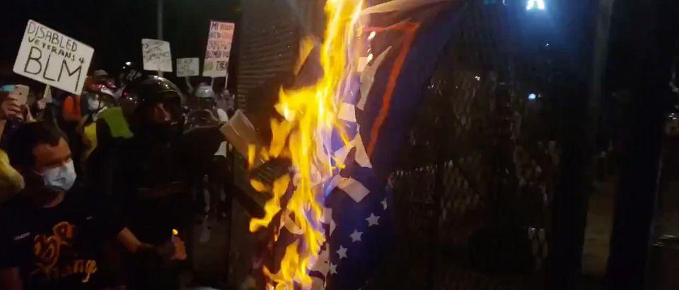 Trump flag set on fire in Portland