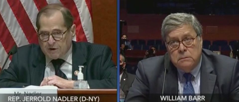 Jerry Nadler questions William Barr on Capitol Hill. Screenshot/C-Span