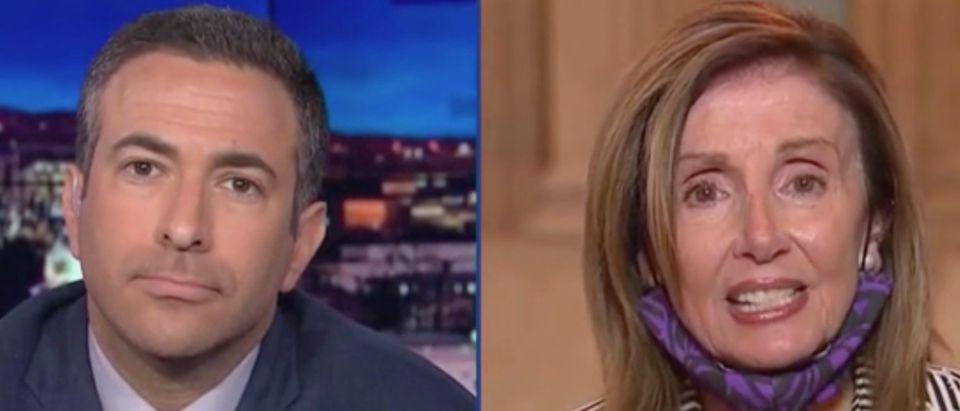 "Ari Melber hosts Nancy Pelosi on ""The Beat."" Screenshot/MSNBC"