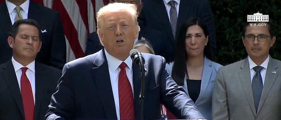 President Trump signs an executive order assisting Hispanic Americans. (Screenshot/YouTube/White House)