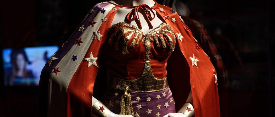 A Wonder Woman costume from the 1970s Wonder Woman series worn by Lynda Carter and designed by Donald Lee Feld on display at the DC Comics Exhibition: Dawn Of Super Heroes at the O2 Arena on February 22, 2018 in London, England. The exhibition, which opens on February 23rd, features 45 original costumes, models and props used in DC Comics productions including the Batman, Wonder Woman and Superman films. (Photo by Jack Taylor/Getty Images)