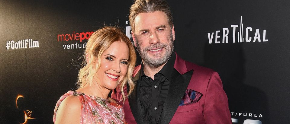 "Kelly Preston and John Travolta attend the New York premiere of Gotti starring John Travolta, in theaters June 15, 2018 on June 14, 2018. (Photo by Dave Kotinsky/Getty Images for The ""Gotti"" Film)"
