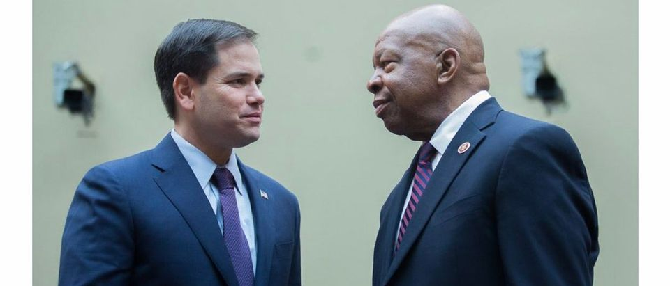 Marco Rubio mistakenly posts a photo of Elijah Cummings while honoring John Lewis. (Screenshot/Twitter/Sahil Kapur)