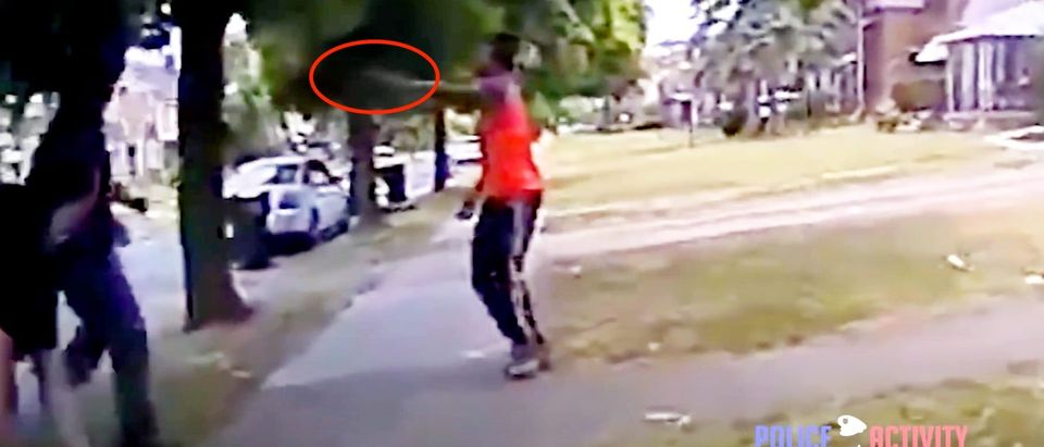 Hakim Littleton is seen in video footage aiming and shooting at officers. (Screenshot YouTube PoliceActivity, https://www.youtube.com/watch?v=_I54MEdD2_A&feature=youtu.be&has_verified=1)