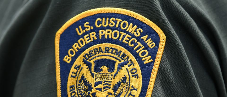 A U.S. Customs and Border Protection patch is seen on the arm of a U.S. Border Patrol agent in Mission