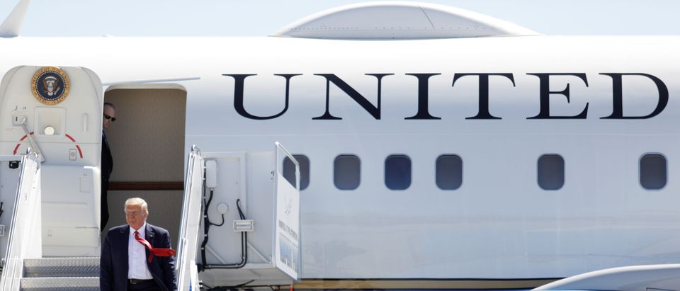 U.S. President Trump arrives at Minneapolis-Saint Paul International Airport in Minneapolis, Minnesota