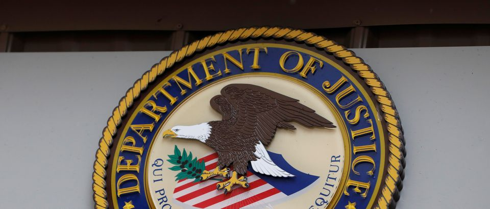 The seal of the United States Department of Justice is seen on the building exterior of the United States Attorney's Office of the Southern District of New York in Manhattan, New York City