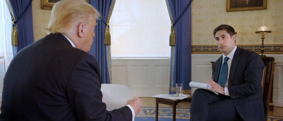 Axios reporter Jonathan Swan interviews President Donald Trump. Screenshot/HBO