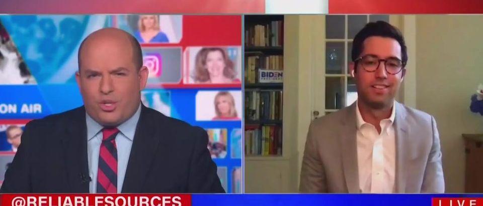 Brian Stelter presses TJ Ducko on Biden media access (CNN screengrab)